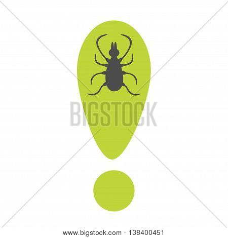 Tick insect silhouette. Mite deer ticks icon. Green exclamation point. Dangerous black parasite. White background. Isolated. Flat design. Vector illustration