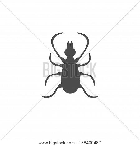 Tick insect silhouette. Mite deer ticks icon. Dangerous black parasite. White background. Isolated. Flat design. Vector illustration