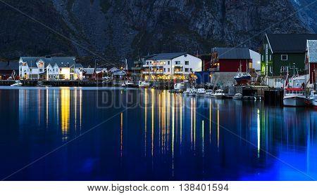 Horizontal vivid evening Norway town light reflections landscape background backdrop