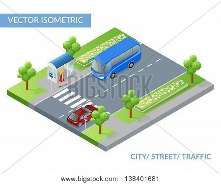 Isometric city street with traffic. Young woman is waiting bus on bus stop. Vector illustration.