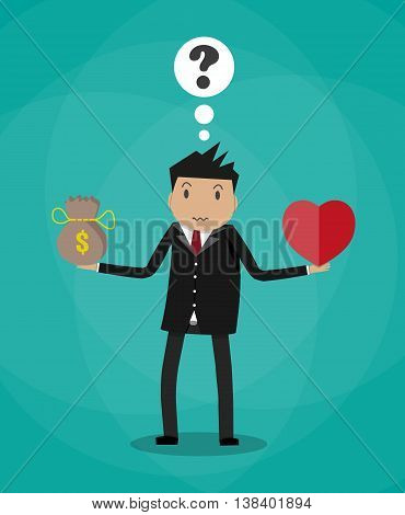 Businessman balance Work and life. heart shape, money pouch. vector illustration in flat style on green background