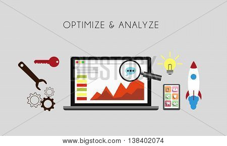 Web Optimization - Optimize and analize flat concept