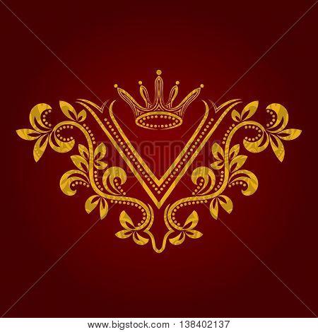 Patterned golden letter V monogram in vintage style. Heraldic coat of arms. Baroque logo template.