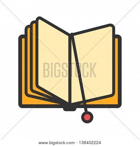 Open book with bookmark icon. Vector illustration