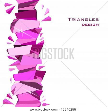 Vertical rose ruby diamond or purple crystal seamless border for girl party banner design. Pink abstract geometric triangles stripe on white background. Vector illustration - stock vector.