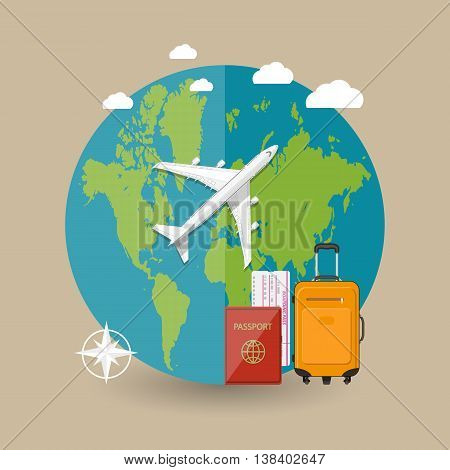Travel concept. World map, airplane, bag, boarding pass, passport in the sky with clouds on brown background. vector illustration in flat design
