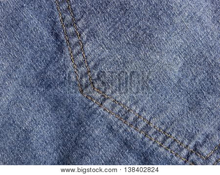 close up seam jeans texture for background