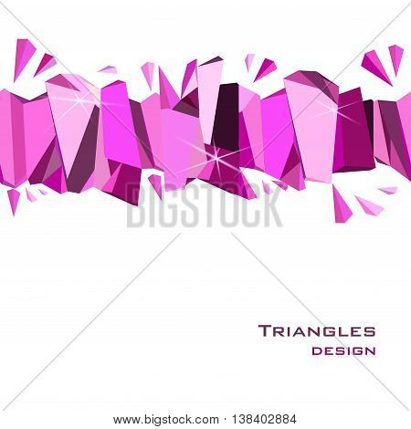Horizontal seamless border with ruby diamond or purple crystal triangles. Pink abstract geometric frame on white background. Design for girl party banner. Vector illustration - stock vector.