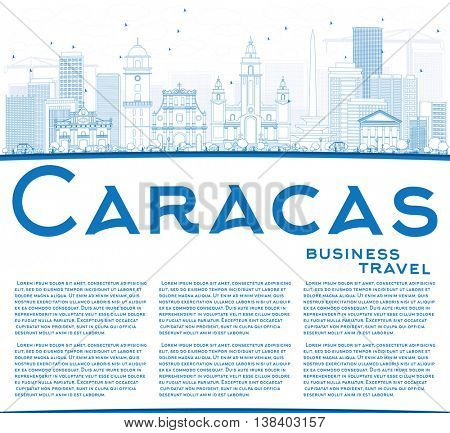 Outline Caracas Skyline with Blue Buildings and Copy Space. Business Travel and Tourism Concept with Historic Buildings. Image for Presentation Banner Placard and Web Site.