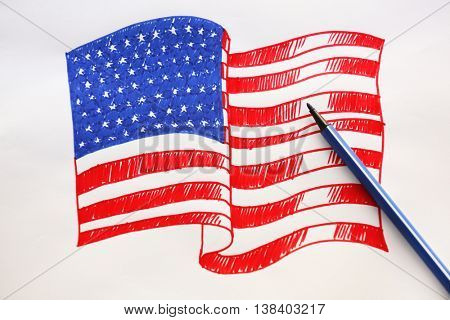 Child's drawing of American flag, close up