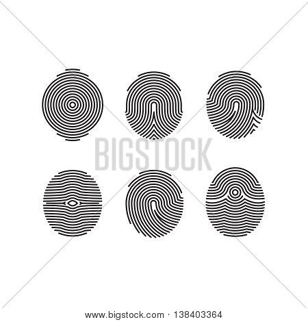Fingerprint vector icons set. Pattern fingerprint for security, illustration set of fingerprint for identity person