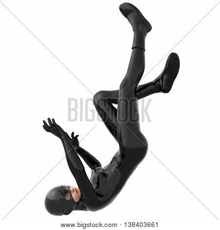 one young girl in a tight black super suit. In the fall. Back down. The Visible face. 3D rendering, 3D illustration