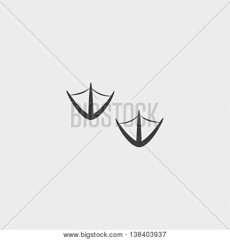 Footprints bird icon in a flat design in black color. Vector illustration eps10