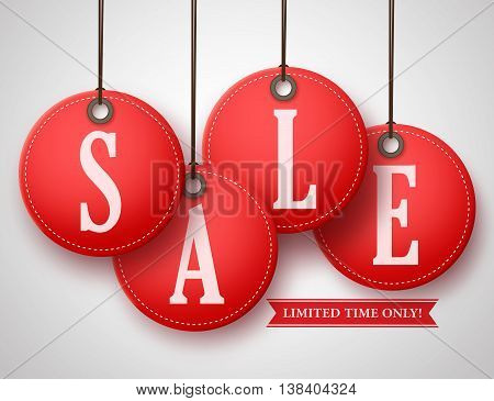 Vector red sale tag with realistic and attractive color hanging with string in white background for store promotion. Vector illustration.