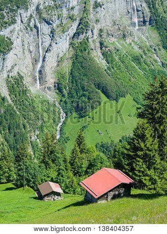 Scenic view on trekking route between Murren and Gimmelwald Switzerland.