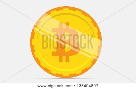 Bitcoin symbol on the coin in flat design. Vector.