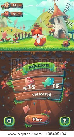 Feed the fox GUI - cartoon stylized vector illustration mobile format mission collected window. For print create videos or web graphic design game user interface card poster.