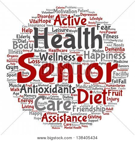 Vector concept conceptual old senior health, care elderly people round abstract word cloud isolated on background, metaphor to healthcare, illness, medicine, assistance, help, treatment, active happy