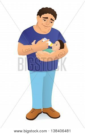 Vector illustration of a young loving father bottle feeding his child. The man has a mediterranean or hispanic appearance, dark curly hair. The baby looks like his dad. Isolated on white.
