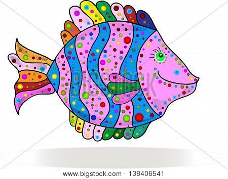 Cute colorful stripes fish cartoon. Vector illustration.