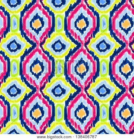 Boho tie-dye pattern. Hippie style. Watercolor effect vector. Shibori textile effect. Batik fabric effect. Trendy background.