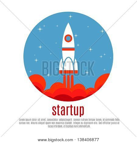 Space travel vector background with rocket, startup new business project concept. Business startup and launch rocket, new project innovation startup illustration