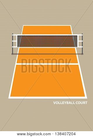 Vector illustration of a volley ball court with net in elevation view from one end isolated on brown plain background.