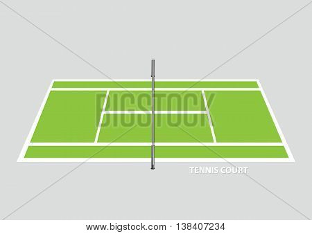 Empty tennis court with divider net in the middle viewed from the side in elevated view. Vector illustration isolated on plain background.