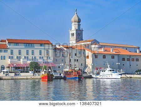 Harbor of Krk Town on Krk Island at adriatic Sea,Kvarner,Croatia