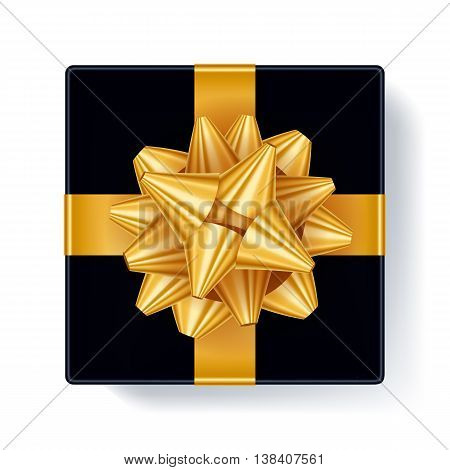 Gift box with golden ribbon bow top view vector illustration Beautiful realistic present box template for birthday christmas new year design.