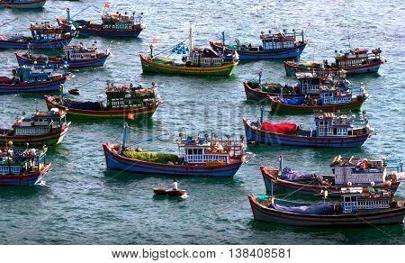 PHU YEN, VIET NAM, October 28, 2015 fishing boats anchored, Vung Ro Bay, Phu Yen Beach. Vietnam