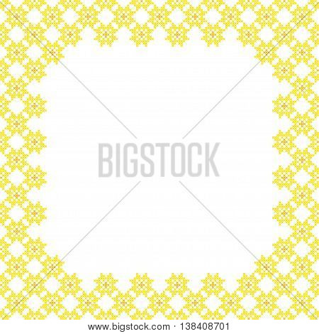 Frame yellow patterns on canvas abstract embroidery