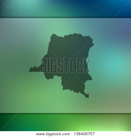 Democratic Republic of The Congo map on blurred background. Blurred background with silhouette of Congo. Congo. Congo map.