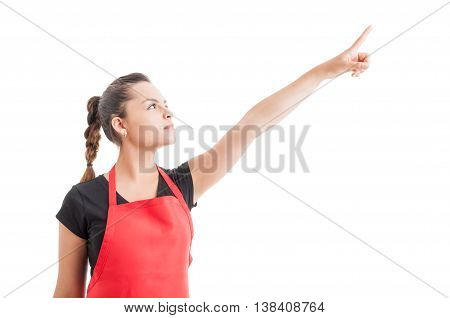 Superhero Shot With Female Employee Pointing Finger Up