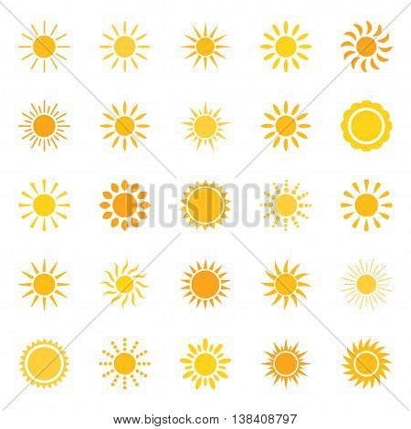 Set of bright sun icons, vector illustration