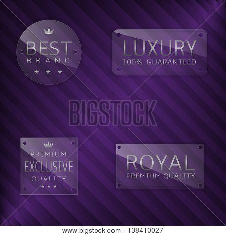 Premium glass label set. Best Brand, Luxury, Exclusive, Royal badge set