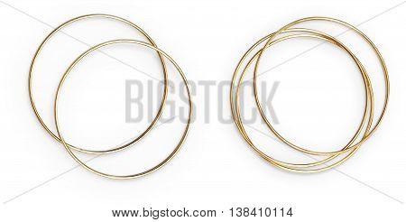 Golden Bracelets Isolated On White