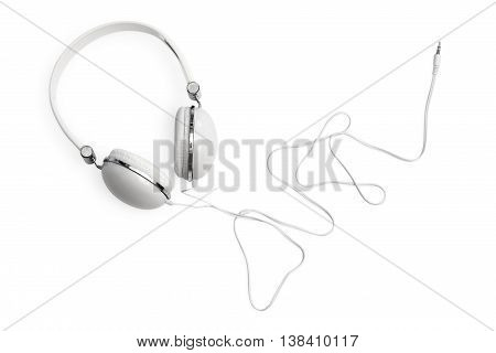 White headphones with wire. Isolated object on white background.