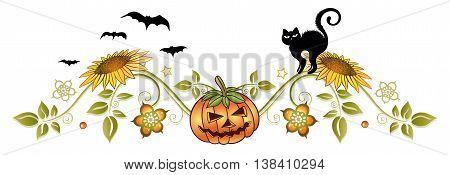 Halloween decoration with pumpkin, black cat, bats and autumn flowers.