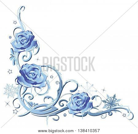 Frozen roses, floral winter and Christmas decoration.