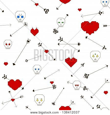 Seamless pattern with stylized skull heart and arrows on a white background. Arrows drawn with the traditional elements of the Chuvash culture. Vector illustration