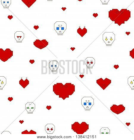 Seamless pattern with stylized skulls and hearts on a white background. Skull with different characters and colored eyes. Hearts of different shapes with different decorations. Vector illustration
