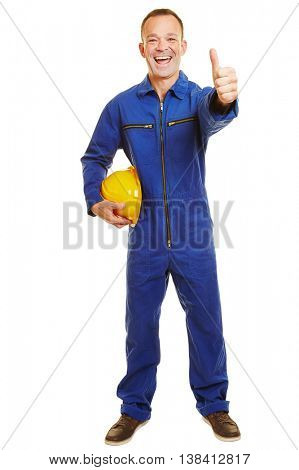 Happy full body construction worker isolated in jumpsuit holding thumbs up