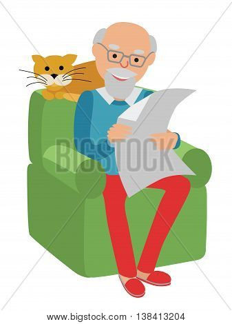Happy senior man sitting on the sofa with red cat read and rest.