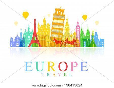 Europe Euro Travel Landmarks. Vector and Illustration