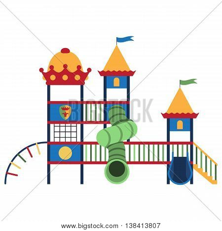 Kids playground and related items. Play equipment on white background. Vector illustration. Grouped for easy editing.