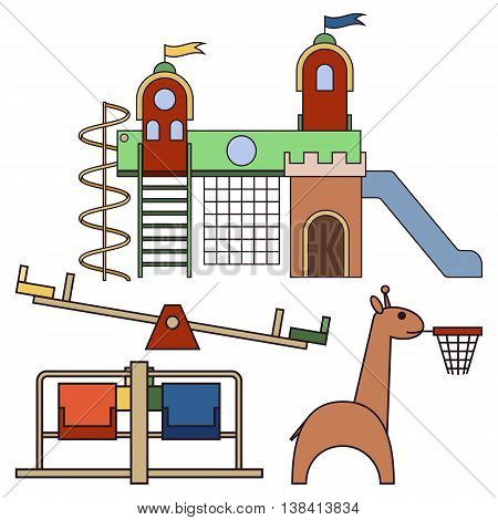 Kids playground. Play equipment on white background. Vector illustration. Grouped for easy editing.