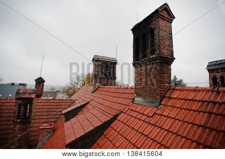 Roof Tile Pattern With Brick Chimney At Old Hotic Mansion