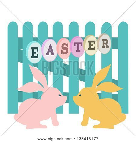 Funny easter bunny. Vector image with fence and rabbits.