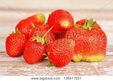 Strawberry On Wooden Background, Dof